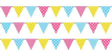Seamless border with birthday party color flags