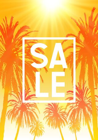Summer sale background with palm trees silhouettes on sunny orange sky