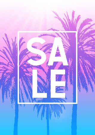 Summer sale background with palm trees silhouettes on gradient sky