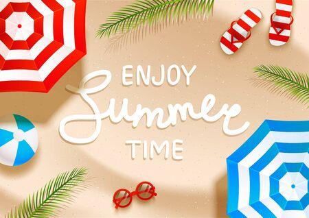 Summer  beach background with sun umbrellas, flip flops, sunglasses, ball and palm shadows on sand 写真素材