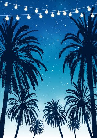 Summer party background with palm trees silhouettes on night starry sky 写真素材