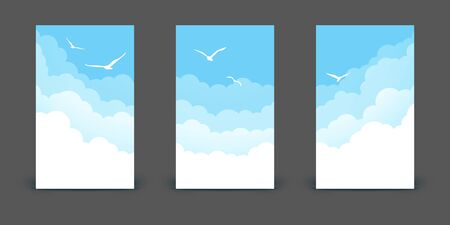 Set of vertical banners with clouds and birds on blue sky