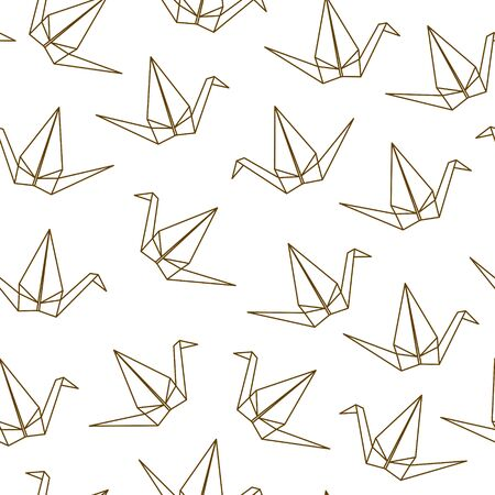 Seamless pattern with Japanese origami cranes on white background