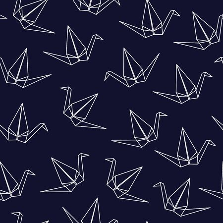 Seamless pattern with Japanese origami cranes on blue background
