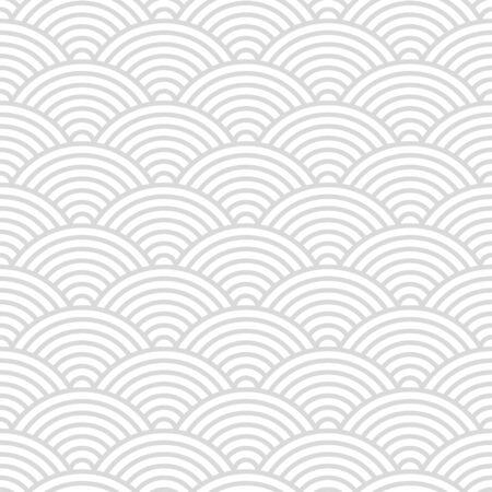 Patrón sin fisuras con círculos blancos y grises de estilo japonés adornados para su diseño