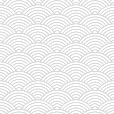 Seamless pattern with Japanese style gray and white circles ornate for your design