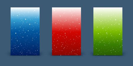 Set of vertical banners with shiny stars on colort sky backgrounds