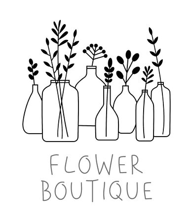 Set of leaves, flowers and branches in bottles and vases isolated on white - florist studio concept  イラスト・ベクター素材