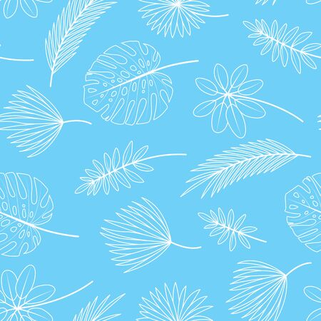 Seamless pattern with tropical leaves on blue background