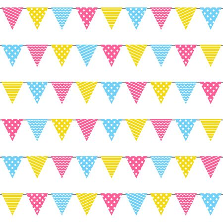 Seamless pattern with Birthday party color flags  イラスト・ベクター素材