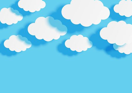 Paper clouds on blue sky background for your design