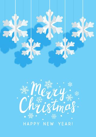 Christmas greeting card with paper snowflakes on blue background for your holiday design