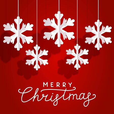 Christmas greeting card with paper snowflakes on red background for your holiday design