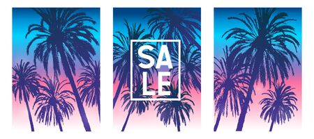 Set of summer tropical brochure covers design with palm trees silhouettes on morning sunrise sky background