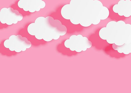 Paper clouds on pink sky background for your design  イラスト・ベクター素材