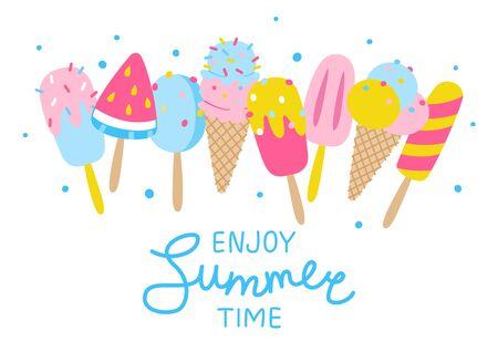 Cartoon design isolated on white background - summer design  イラスト・ベクター素材