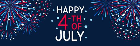 Horizontal banner with fireworks for Independence day design