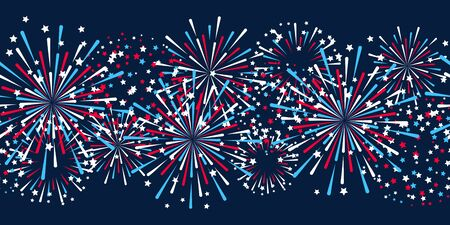 Seamless border with fireworks for Independence day design