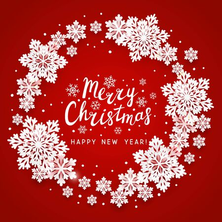 Christmas greeting card with paper snowflakes round frame on red background for your holiday design
