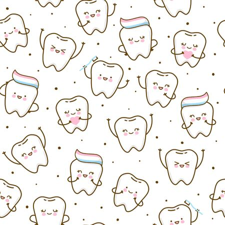Seamless pattern with cute teeth isolated on white background - for kid dental design