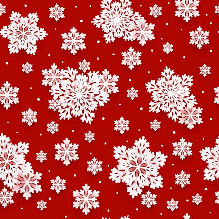Seamless pattern with paper snowflakes on red background for your Christmas and New Year holiday design