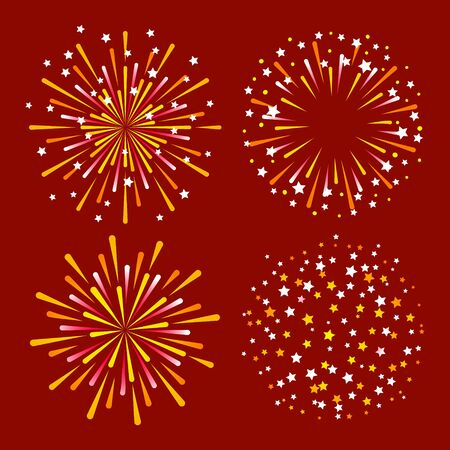 Set of golden fireworks on red background for anniversary holiday design