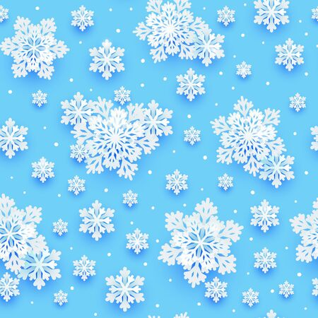 Seamless pattern with paper snowflakes on blue background for your Christmas and New Year holiday design