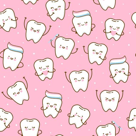 Seamless pattern with cute teeth on pink background - for kid dental design