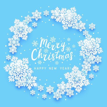 Christmas greeting card with paper snowflakes round frame on blue background for your holiday design