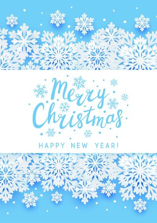 Christmas greeting card with paper snowflakes on blue background for Your holiday design  イラスト・ベクター素材