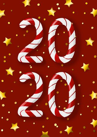 New Year concept - 2020 candy numbers on red background with golden stars for winter holidays design