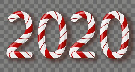 New Year concept - candy 2020 numbers with transparent effect