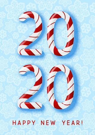 New Year concept - 2020 candy numbers on blue snowflakes background for winter holidays design