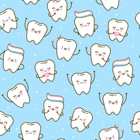 Seamless pattern with cute teeth on blue background - for kid dental design