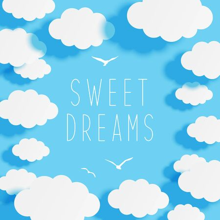 Paper clouds on blue sky background - frame for your design