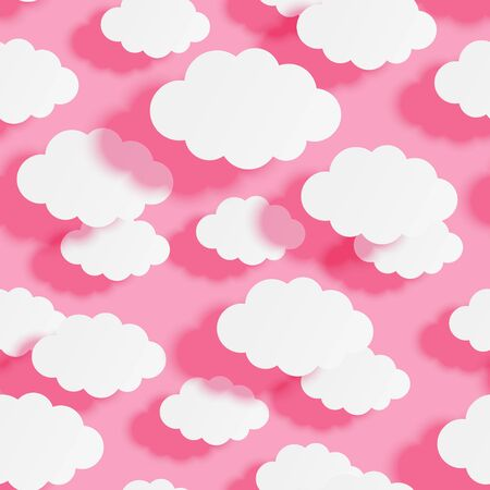 Seamless pattern with paper clouds on pink background for your design