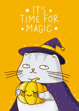 Cute scottish fold gray cat with pumpkin, witch hat and cloakon orange background - character for magic halloween design  イラスト・ベクター素材