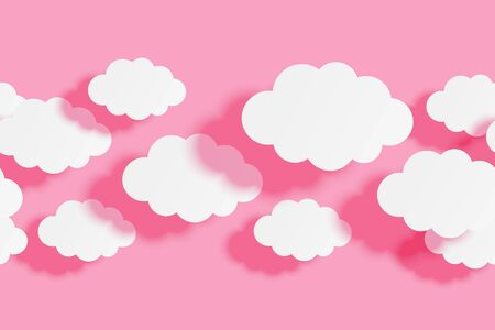 Seamless border with paper clouds on pink sky background for your design  イラスト・ベクター素材