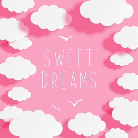 Paper clouds on pink sky background - frame for your design  イラスト・ベクター素材