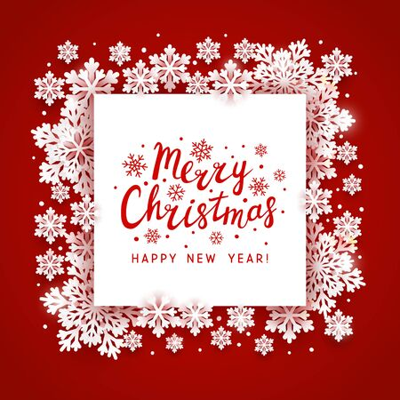 Christmas greeting card with paper snowflakes frame on red background for your holiday design  イラスト・ベクター素材