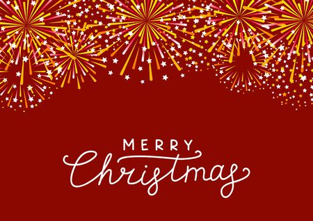 Golden fireworks border on red background - greeting card for Christmas design