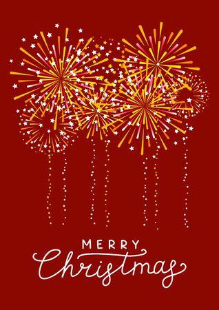 Golden fireworks on red background - vertical greeting card for Christmas design