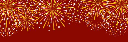 Horizontal panoramic banner with golden fireworks on red background for Christmas and New Year holiday design