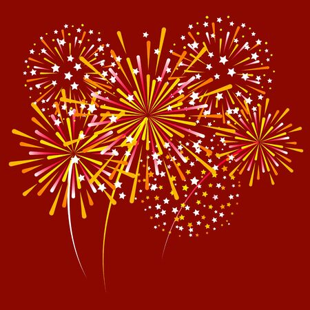 Group of golden fireworks on red background for Christmas and New Year design  イラスト・ベクター素材