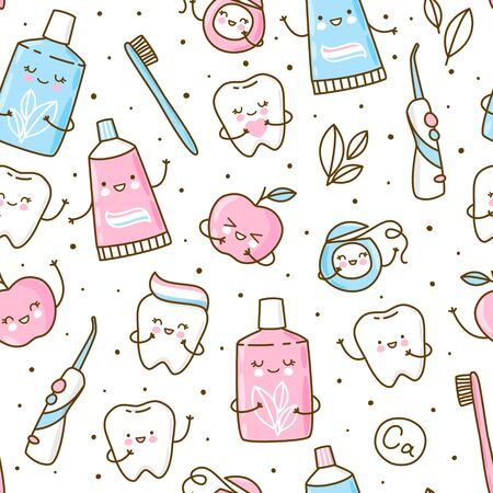 Set of cute objects for dental care isolated on white - funny toothpaste, brush, apple, irrigator,  dental floss and mouthwash