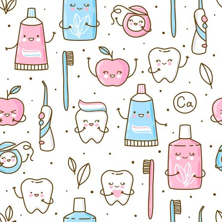 Seamless pattern with cute teeth and objects for dental care isolated on white - funny toothpaste, brush, apple, irrigator,  dental floss and mouthwash