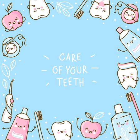 Cute frame with teeth and objects for dental care on blue background - funny toothpaste, brush, apple, irrigator, dental floss and mouthwash
