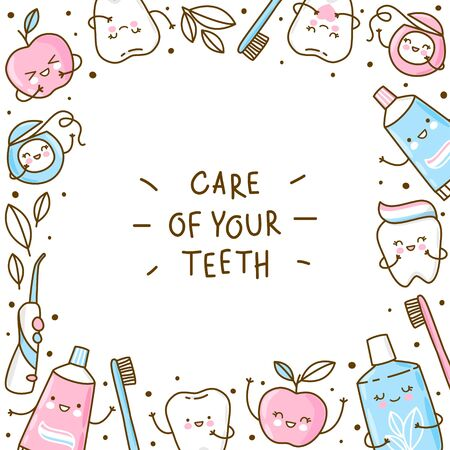 Cute frame with teeth and objects for dental care isolated on white background - funny toothpaste, brush, apple, irrigator, dental floss and mouthwash