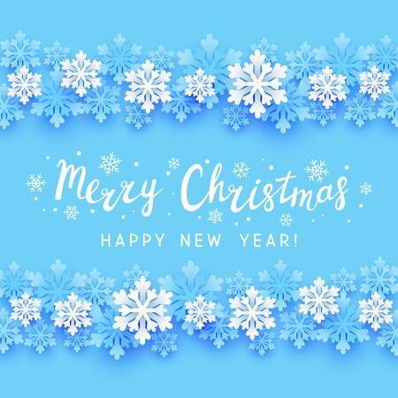 Winter paper snowflakes border on blue background for your holiday design