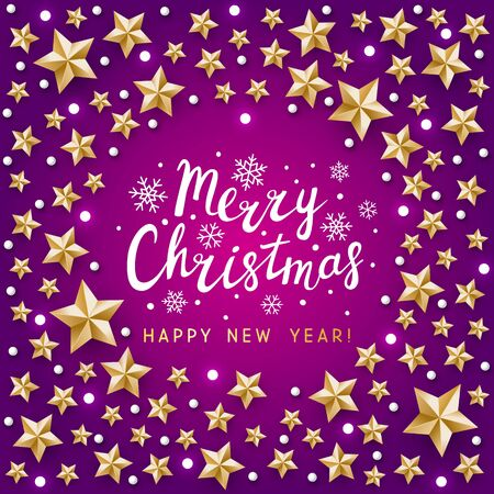 Christmas greeting card with golden stars decor on violet background - vector frame for winter holiday design  イラスト・ベクター素材
